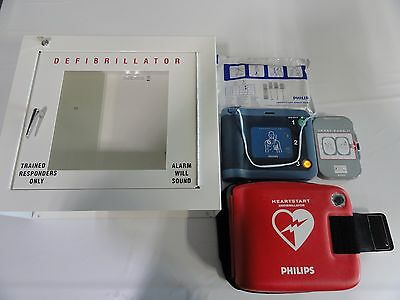 Philips HeartStart FRx AED with Glass Wall Case and Accessories