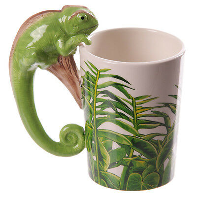 Ceramic Novelty Jungle Design Chameleon Lizard Shaped Handle Mug - Lisa Parker
