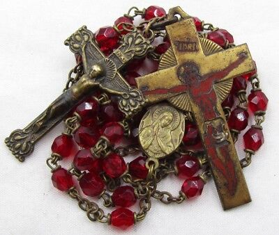 "† SCARCE c1800s ANTIQUE RED ENAMEL CROSS CRIMSON GLASS ""CZECHOSLOVAKIA"" ROSARY †"