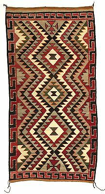 1920-30s Navajo Red Mesa Rug 78 by 40 inches