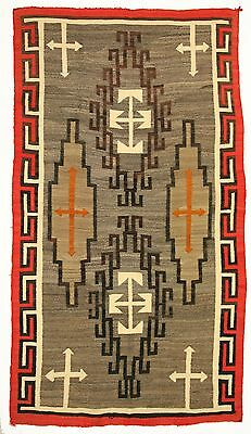 circa 1910 Navajo Klagetoh Rug with Cross Motifs 94 by 53 inches