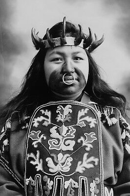 New 5x7 Native American Photo: Thlinget Indian Woman in Potlatch Dance Costume