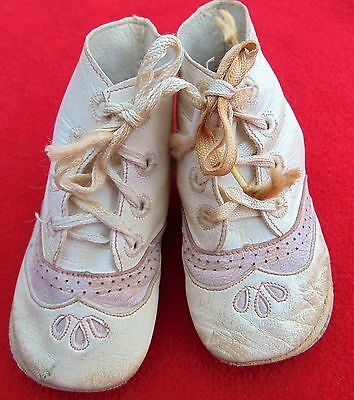 Antique Baby Girl White Kid Leather  Shoes ~ Gorgeous With Pink Leather Trim