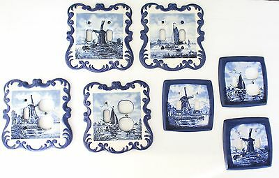 VTG Holland Mold Switch Plates Covers Set of 7 Blue Windmills Ship Light Ceramic
