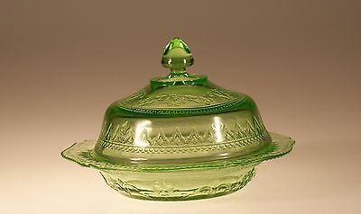 Vintage Federal Glass Green Patrician Spoke Butter Dish & Cover c.1931