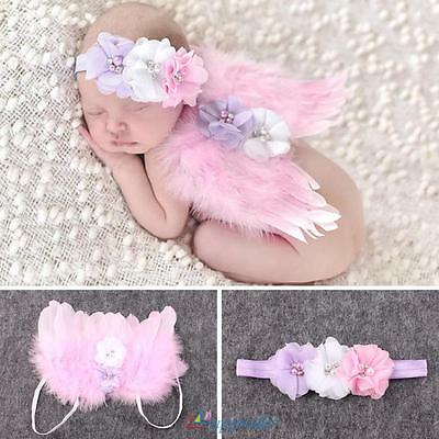Newborn Baby Girl Boy Pink Feather Angel Wing+ Flower Headband Photography Props