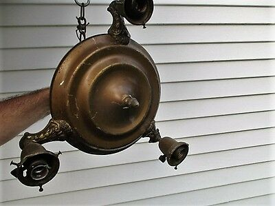 Vintage Antique Brass 3 Socket Ceiling Chandelier Light Lamp Fixture