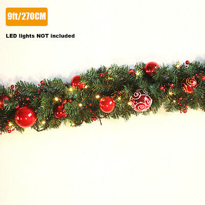 Sale 9FT 270cm Red Ball Decorated Green Christmas Xmas Garland Kerris S427 Gift