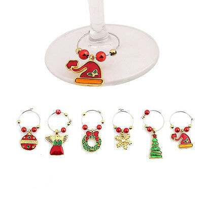 Christmas Wine Glass Charms, Drink Markers / Charms - Set of 6