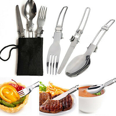 3Pcs/ lot Portable Camping Flatware Tableware Folding Cutter Spoon Fork With Bag