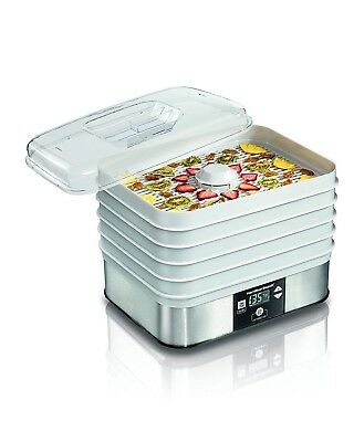 Electric Food Dehydrator 5 Stackable Trays Fruit Vegetable Healthy Square Raw