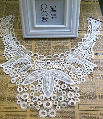 FD4570 □ Hollow Flora Leaf Pearl Lace Collar Neckline Embroidery Patch Trims DIY