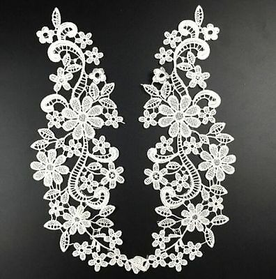 FD4572 □  Hollow Flora Lace Collar Neckline Embroidery Patch Trims DIY Pair Whit