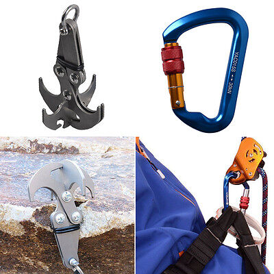 Grappling Gravity Hook Survival Climbing Claw + D-Ring Screwgate Lock Carabiner