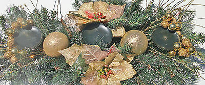 Christmas Table Centrepiece Pillar Candle Holder Gold Poinsettia Spruce Xmas