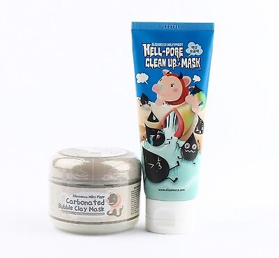 Elizavecca Carbonated Bubble Clay Mask 100ml + Hell Pore Clean Up Mask 100ml Set
