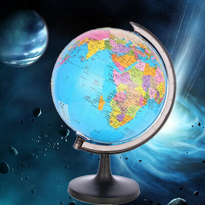 "3.5"" World Globe Inflate Earth With Swivel Stand Ball Geography Educational Toy"