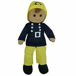 Powell Craft Fireman 19cm Traditional Rag Doll Ragdoll Toy New