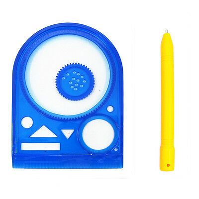 Children Funny Drawing Template Ruler Stencil Gears Wheels Kids Toy Magnetic Pen
