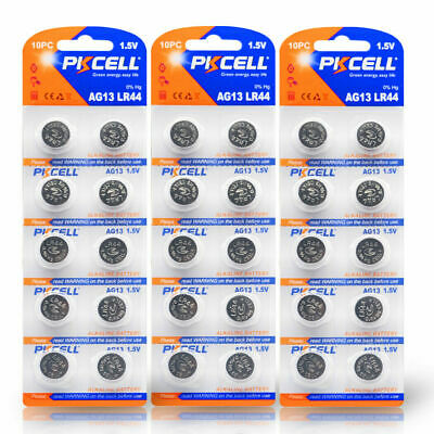 30 x  AG13 Battery LR44 L1154 357 A76 AG 13 Alkaline Button Coin Cell PKCELL New