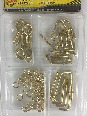 L Shape Hooks& Screw Eyes Kit 50 Pcs Oz Stock Free Shipping