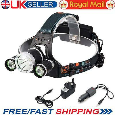 LED Headlight Torch Powerful 6000LM 3x XM-L Waterproof Rechargeable T6 Headlamp