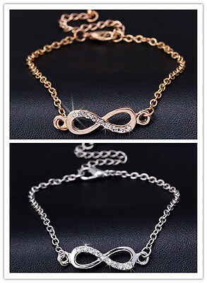 Sparkly Elegant Subtle Infinity Anklet Foot Chain Ankle Bracelet Infinity Charm