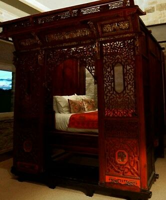 Antique Heavily Carved 5ft Chinese Opium Marriage Bed