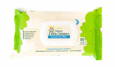Happy Little Camper Flushable Toddler Wipes with Organic Aloe,Septic Safe, 50 Ct