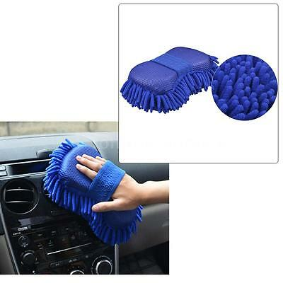 Car Blue Washing Sponge Towel Cleaning Cloth Gloves Microfiber Chenille G7O3