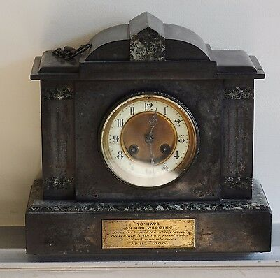 Mantle Clock Antique Art Deco Real Marble Working With Key