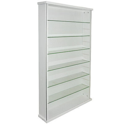 EXHIBIT - Solid Wood 6 Shelf Glass Wall Display Cabinet - White 3306OC