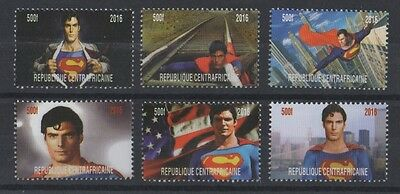 Lot Of Six Superman Comic Movie Christopher Reeve Centrafricaine 2016 Mnh Stamps