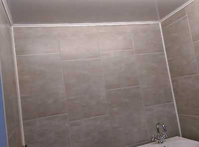 Large Grey Tile 400mm Wide Wall Panels Bathroom Cladding Waterproof T&G PVC