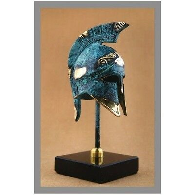 Ancient Greek Bronze Miniature Helmet On Stand Green Gold Oxidization 355-1