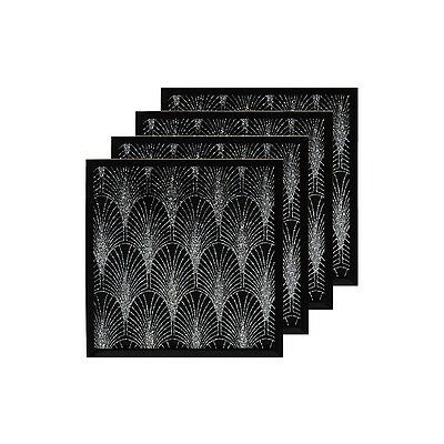Set of 4 Black and Silver Glittered Design Heat Resistant Coasters Table Mat