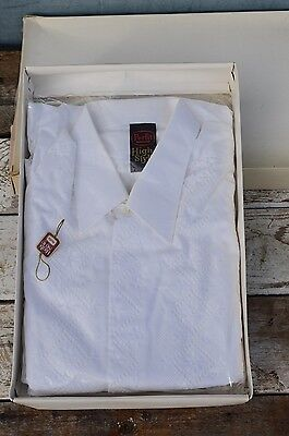 Vintage Mens White Cotton Dress Shirt by Perfit New and Unused 1970s