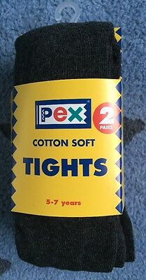 Pex Charcoal Grey Cotton Girls Seamless School Tights 2 Pair Pack Age 5-7