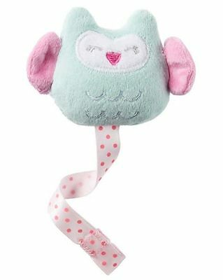 New Carter's Baby Girl Pacifier Clip Mint Owl Plush Clip with Ribbon NWT
