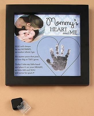 MOMMY Heart & Me Baby Child Handprint Photo Picture Frame - Great Mommy Gift