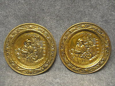"Set Of 2 Pressed Brass Wall Hanging Trays Plaques 9-1/2"" Diameter Minstrel"