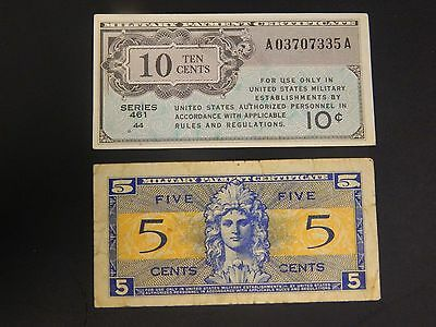 Lot of (2) Military Payment Notes! 5 Cent + 10 Cent!! See Listing!