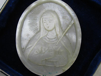 † Antique Seven Sorrows Of Mary, Sorrowful Mother Of Pearl Carved Badge Shrine †