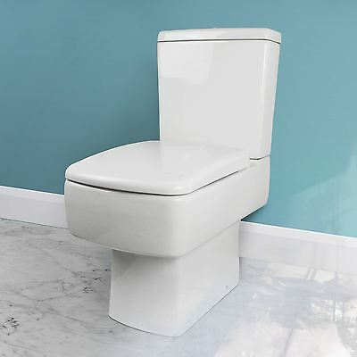 Walton Square Modern Wc Close Coupled Bathroom Toilet Cistern & Soft Close Seat