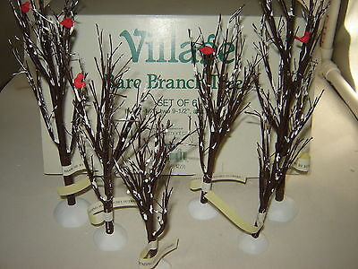 DEPT. 56 Bare Branch Trees with Cardinal #52623 accessory SNOW VILLAGE