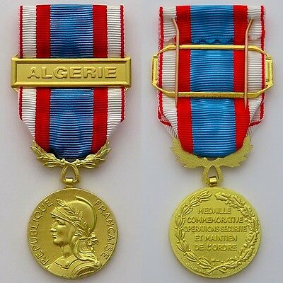FRENCH FOREIGN LEGION - MEDAL NORTH AFRICA SECURITY and ORDER + BAR ALGERIE