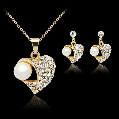 18k gold plated Pearl Women's Jewelry Set Rhinestone Crystal Necklace + Earring