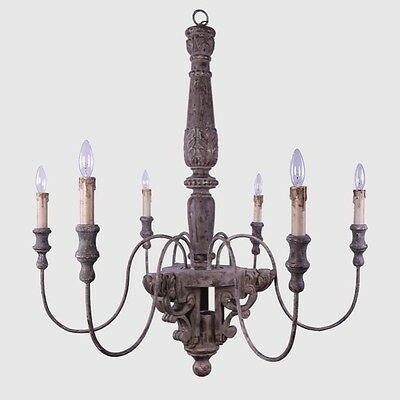 Antique Style French Carved Wood Chandelier~6 Arms/Lights~Ceiling Fixture