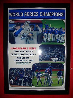 Chicago Cubs 8 Cleveland Indians 7 - Cubs win World Series - framed print