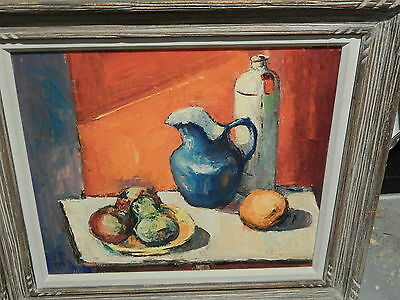 ORIGINAL OIL ON CANVAS  STILL LIFE PAINTING BY Seymore Berstein SIGNED 1955
